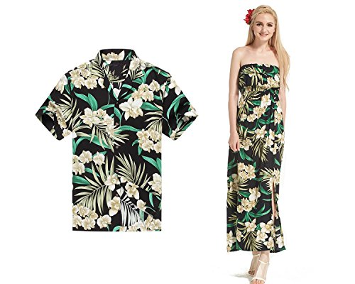Made in Hawaii Premium Couple Matching Shirt Off Shoulder Dress Floral Green Black 3XL-M by Hawaii Hangover
