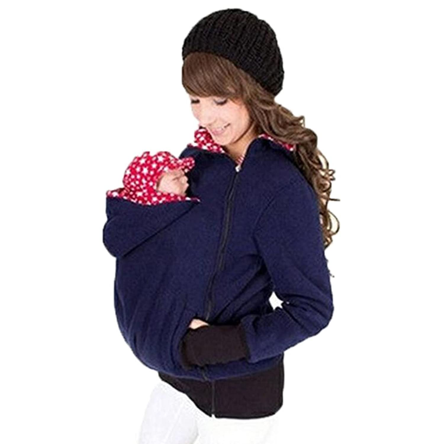 hibote Maternity Hooded Sweatshirt for Baby Carrier 3 in 1 Mulfunctional Women's Cardigan Outerwear