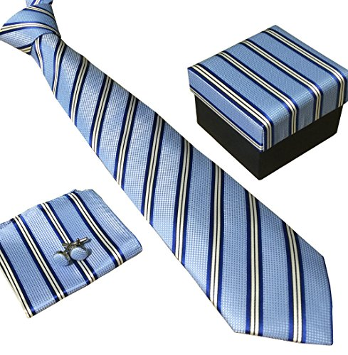 Blue Tie Tonal Silk (Secdtie Men's SILK Tie Set: Necktie+Hanky+Cufflinks,Dark Blue Stripe Necktie)