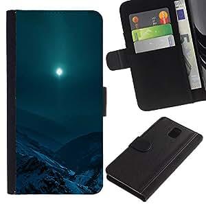 KLONGSHOP // Tirón de la caja Cartera de cuero con ranuras para tarjetas - Moon Mountain - Samsung Galaxy Note 3 III //