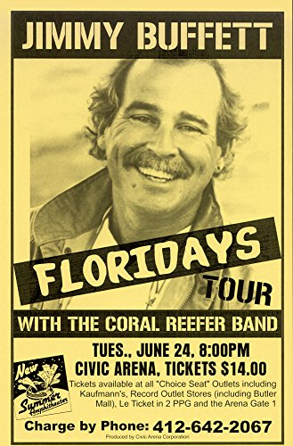 - Innerwallz Jimmy Buffett Floriday's 1986 Retro Art Print - Poster Size - Print of Retro Concert Poster - Features Jimmy Buffett and the Coral Reefer Band.