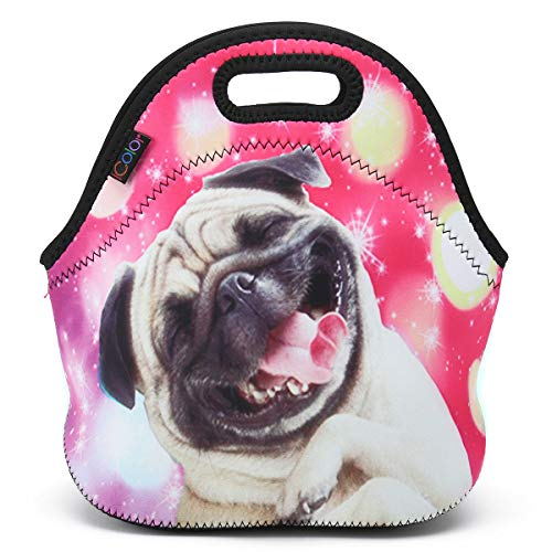 ICOLOR Happy Pug Insulated Neoprene Lunch Bag, Waterproof Food Storage Carrying Case, Boys Girls School Office Work Lunch Tote Bag Cooler, Kids Adults Travel Outdoor Picnic Food Container(HST-LB-054) ]()