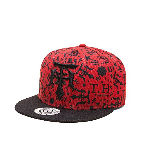 FayTop Fashion Snapback Boy Hat Hip-Hop Hat Flat Adjustable Baseball Cap V144H0004-red