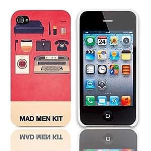 MOFY-Mad Man Kit patr—n duro caso con paquete de 3 protectores de pantalla para iPhone 4/4S