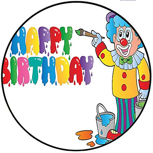 Short Plush Round Carpet Birthday for Kids Happy Clown for Party with Colorful Paint Drawing Buckets Color Living Room Computer Chair 70.8