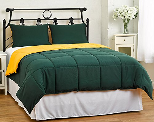 Yellow/Hunter Green KING Size 3-Piece Reversible Down Alternative Comforter Set by Cozy Bedding