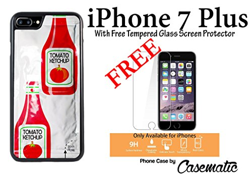 iPhone Case Funny Tomato Ketcup Packet Rubber Black Phone Case For Apple iPhone 7 Plus With Free .33 mm Premium Tempered Glass Screen Protector by Casematic