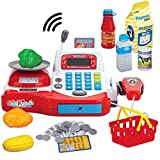 Liberty Imports Multi-functional Educational Pretend Play Electronic Toy Cash Register with Microphone, Scanner, Scale, Calculator, Play Money, Credit Card Reader, Shopping Basket and Groceries