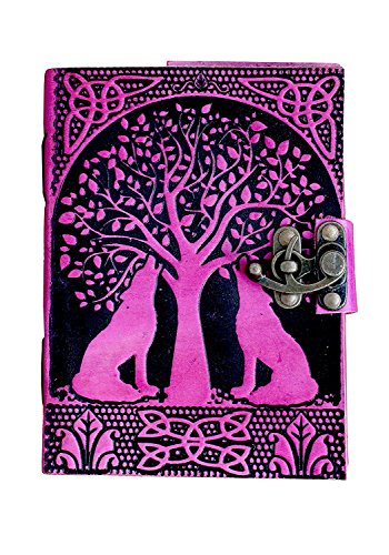 - TUZECH Pure Genuine Real Vintage Hunter Leather Handmade Paper Notebook Diary for Office Home to Write Poem Daily Update with Attractive Metal Lock and Engraved Tree and Dog 7x5 inch (Pink)