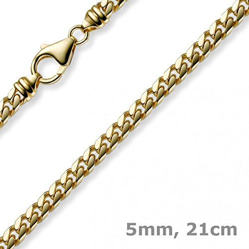 Bracelet ovale diamanté 5 mm maille gourmette or jaune massif 585 21 cm