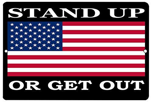 Flag Tin - Rogue River Tactical USA American Flag Metal Tin Sign Wall Decor Man Cave Bar Stand Up Or Get Out Patriotic