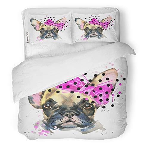 Semtomn Decor Duvet Cover Set Twin Size Abstract French Bulldog Watercolor Cute Dog and Candy Floss 3 Piece Brushed Microfiber Fabric Print Bedding Set ()
