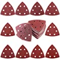 "Swpeet 50Pcs 90mm 3.5"" Triangle 6 Holes Detail Sander Sandpaper Sanding Paper Hook and Loop Assorted - 40/60/80/120/180/240/400/600/800/1000 Grits"