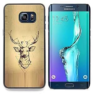 """For Samsung Galaxy S6 Edge Plus / S6 Edge+ G928 Case , Deer Pergamino Madera astas de los ciervos"""" - Diseño Patrón Teléfono Caso Cubierta Case Bumper Duro Protección Case Cover Funda"""