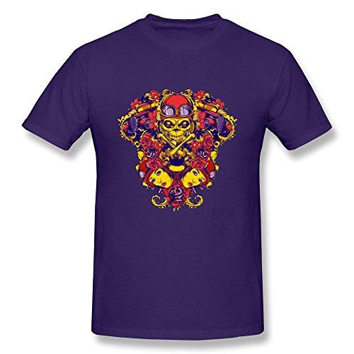 Cool Colorful Skull Tees Design For Men Purple