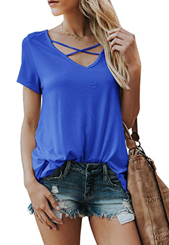 Karlywindow Womens Criss Cross T-Shirts Summer Casual Short Sleeve Front V-Neck Cute Loose Tunics Tops