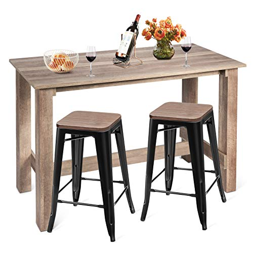 COSTWAY 3 Pcs Dining Table Set, Industrial Counter Height Dining Set with Wooden Table and 2 Metal Backless Barstools…