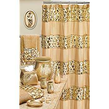 Popular Bath 839166 Sinatra Shower Curtain Champagne Gold