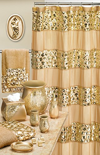 Popular Bath 839166 Sinatra Shower Curtain, Champagne Gold