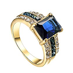 Square Cut Sapphire Blue Crystal Ring