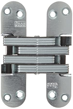 "SOSS Mortise Mount Invisible Hinge with 8 Holes, Zinc, Satin Chrome Finish, 4-5/8"" Leaf Height, 1-1/8"" Leaf Width, 1-41/64"" Leaf Thickness, #10 x 1-1/2"" Screw Size"