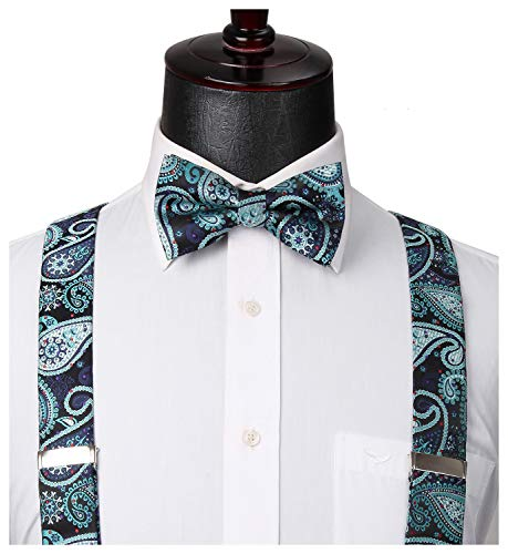 (HISDERN Paisley 6 Clips Suspenders & Bow Tie and Pocket Square Set Y Shape Adjustable Braces Green)