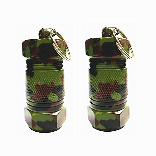 douper High Capacity Aluminum Keychain Pill Fob Waterproof Pill Holders Outdoor Airtight Matches Container Time Capsule Pack of 2 (2 Army Green)