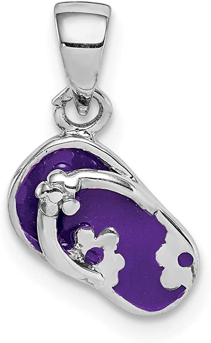 Sterling Silver Rhodium-plated Childs Enameled Purple Flip Flop Pendant