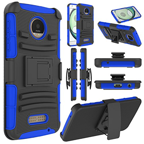 Elegant Choise Moto Z Play Case, Moto Z Play Holster Case, Heavy Duty Dual Layer Full Body Protective Kickstand Case Cover with Belt Clip Holster Case for Moto Z Play Droid (Dark Blue)