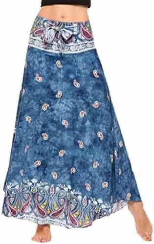 b11ab62156 SE MIU Women's Long Bohemian Style Floral Print Boho Hippie Maxi Skirt