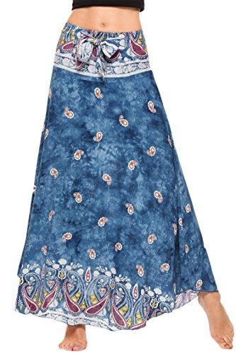 SE MIU Women's Long Bohemian Style Floral Print Boho Hippie Maxi Skirt Hippie Silk Skirt