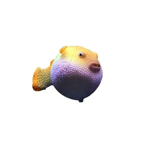 fish Paisajismo pequeño acuario Puffer fluorescente Simulación Puffer decoración Tank