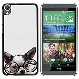 Be Good Phone Accessory // Dura Cáscara cubierta Protectora Caso Carcasa Funda de Protección para HTC Desire 820 // Chihuahua glasses dog puppy smart