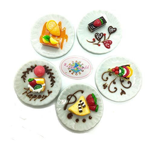 Dollhouse Miniatures Foods (5 Kind Of Dessert), Little world Food Collectibles, Dollhouse Kitchen Accessories, Size 1.37' [3.5 cm] ,Barbie Food (Christmas Cactus Cookie Jar)