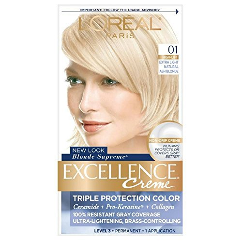 L'Oreal Paris Excellence Creme Haircolor, Extra Light Ash Blonde [01] (Cooler) 1 ea (Pack of 3) (L Oreal Excellence Creme Light Reddish Blonde)
