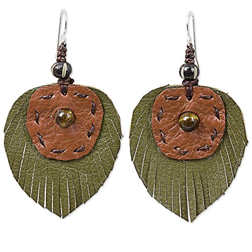 - NOVICA Tiger's Eye .925 Sterling Silver Brown and Green Leather Bone Dangle Earrings 'Aurora Leaves'