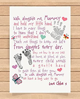 Personalised Presents Gifts For Step Mum Mummy Mother Grandma Nanny Birthday Mothers Day Christmas Xmas Walk Alongside Me Poem Keepsake Heart Touching