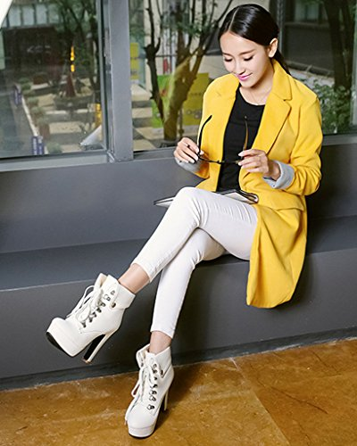 Haut Lacer Bottes Martin Hiver Femme Chaussures Mode Bottes Stylet Minetom Talons Bottes Automne Boots z0qPPf