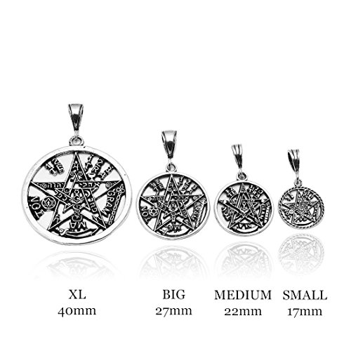 Pentagram Pendant Tetragrammaton Charm Solid Oxidize Design 925 Sterling Silver Religious Pagan Star Shape