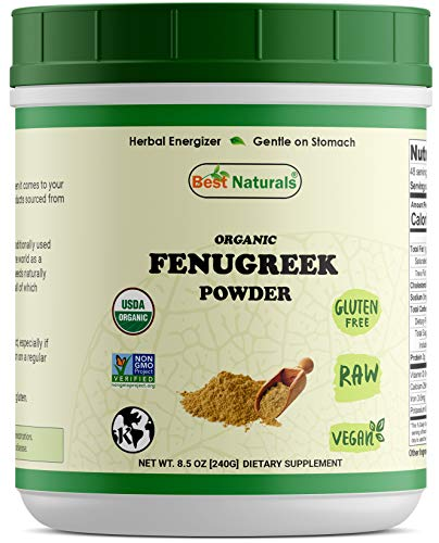 Best Naturals Certified Organic Fenugreek Seed Powder 8.5 OZ (240 Gram), Non-GMO Project Verified & USDA Certified Organic