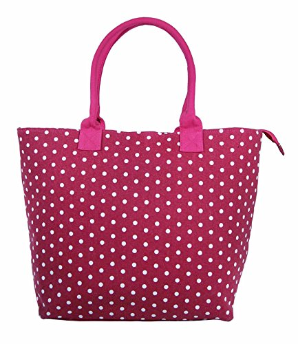 Large Flower Fully Canvas Fuchsia Ladies Holiday Lined Beach Tote Daisy Lightweight Bag Bag Polka Shopper Shoulder Dot Women Black 605qBw
