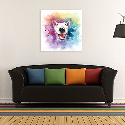 Square Dog Series A Bull Terrier Painting with Color Splash Background