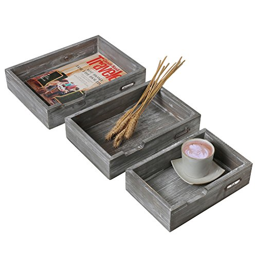 Barnwood Gray Wood Nesting Office Document Trays, Drawer-Style Display Boxes, Set of (Barnwood Vanity)