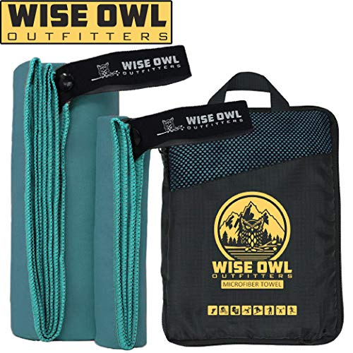 (Wise Owl Outfitters Camping Towel Ultra Soft Compact Quick Dry Microfiber - Great for Fitness, Hiking, Yoga, Travel, Sports, Backpacking & The Gym - Free Bonus Hand Towel 24x48 MB)