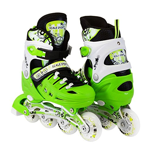 Kids Adjustable Inline Roller Blade Skates Long Feng Green Small Sizes Safe Durable Outdoor Featuring Illuminating Front Wheels 905