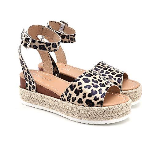 (Dongpai Women's Casual Trim Rubber Sole Flatform Studded Ankle Braid Strap Open Toe Espadrilles Sandals)