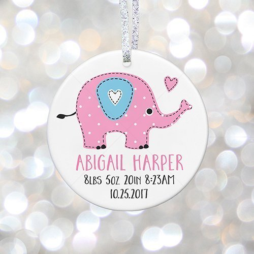 Baby Girl Birth Announcement with Baby Name, Stats, Birth Information, Personalized Ornament for New Daughter, Grandparent Gift - 3