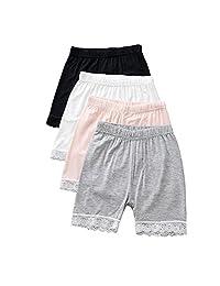 YUMILY 2-8 Years Old Girls Solid Biking Shorts Lace Trim Boyshort Panties 4 Pack