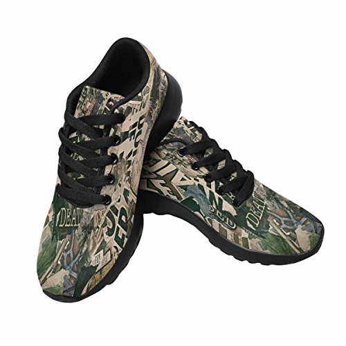 Interessante Donna Da Jogging Corsa Sneaker Leggero Andare Facile A Piedi Comfort Sport Scarpe Da Corsa Grungy Giornale Texture Multi 1