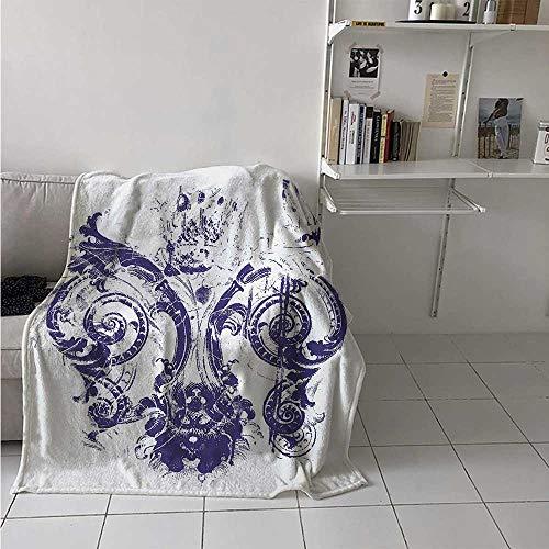 maisi Fleur De Lis Digital Printing Blanket Digital Grunge Lily Emperor Flag Victorian Kingdom Imperial Theme Print Summer Quilt Comforter 62x60 Inch Purple White